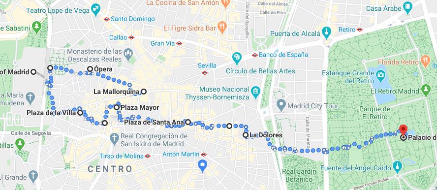 Este es el itinerario de nuestro recorrido a pie autoguiado por Madrid de principio a fin.