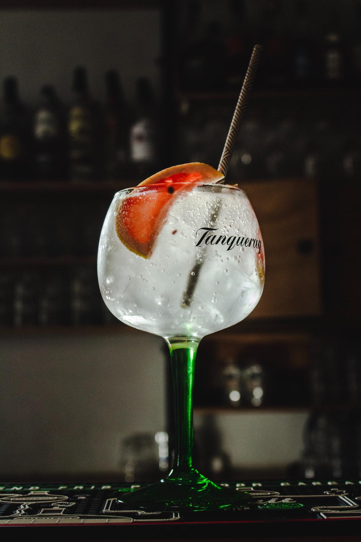 Gin tonic aderezado con cítricos en copa con tallo