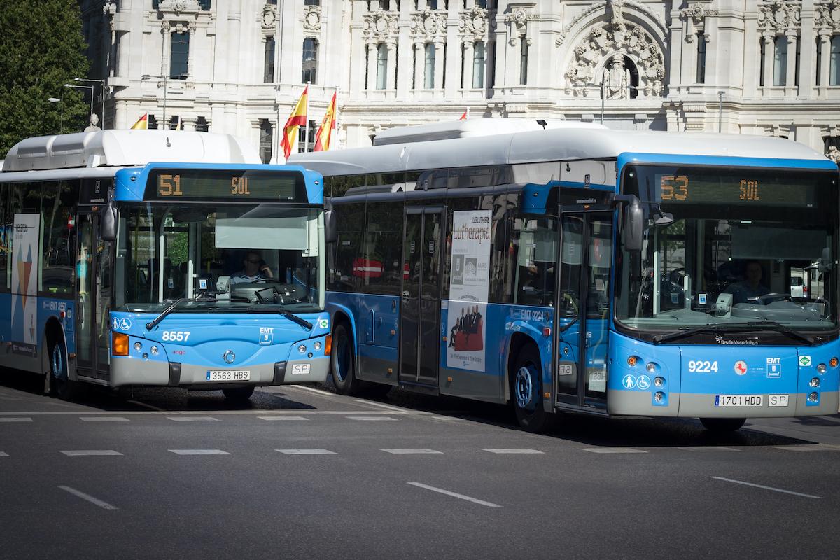 Dos autobuses urbanos azules en la carretera de Madrid.