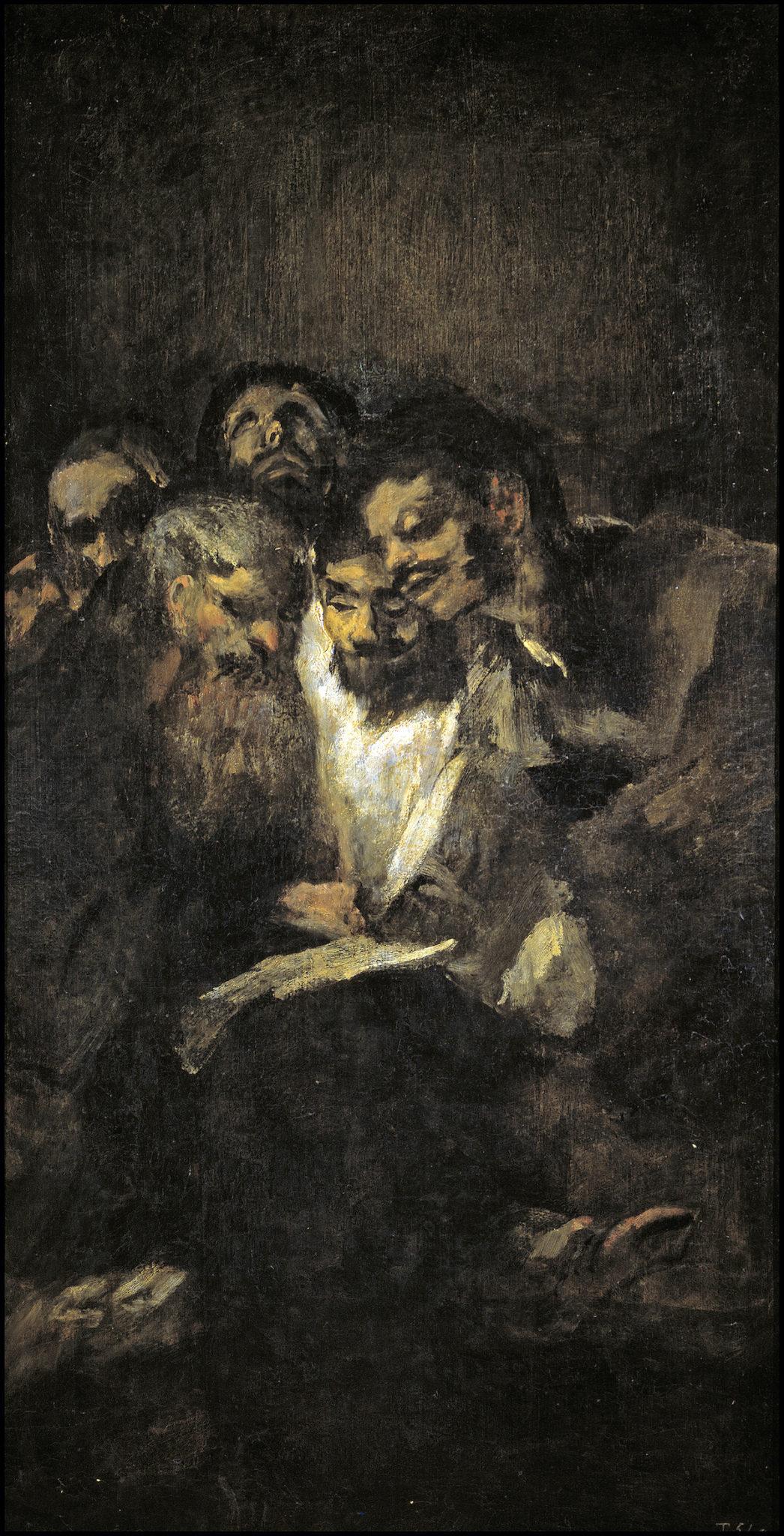 Óleo sobre lienzo de un grupo de hombres leyendo de Goya.