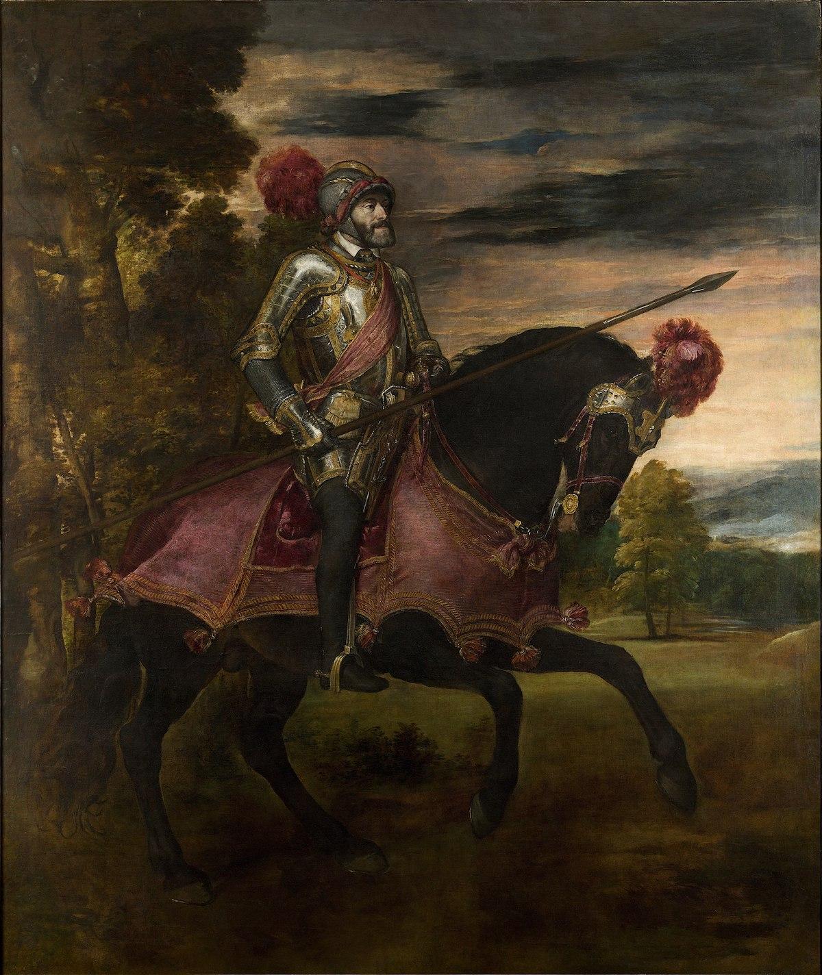 Pintura al óleo sobre lienzo que representa a un rey con armadura a caballo.