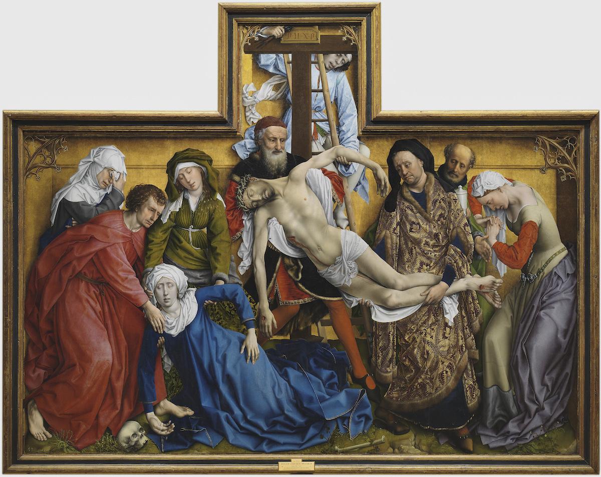 Pintura del cuerpo de Jesucristo bajado de la cruz por sus discípulos