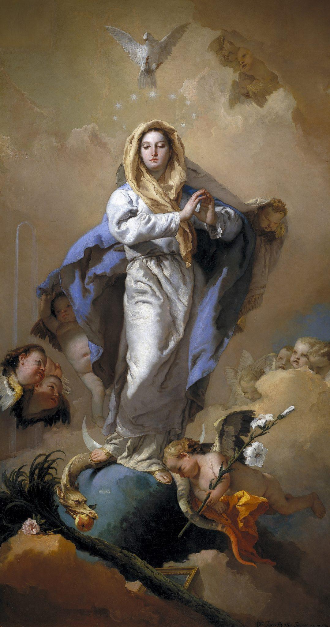 Pintura al óleo sobre lienzo de la Virgen María rodeada de ángeles