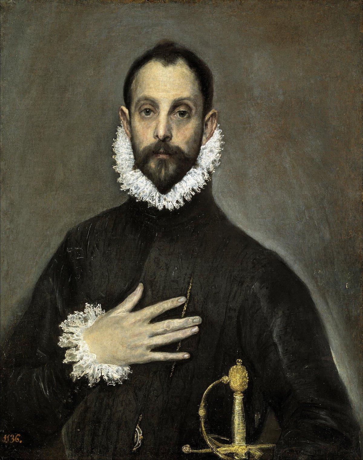 Óleo sobre lienzo Retrato de El Greco de un noble del siglo XVI con la mano en el pecho.