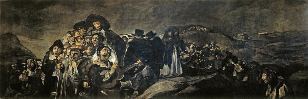 Pintura al óleo oscura de Goya que muestra multitudes de personas en peregrinación